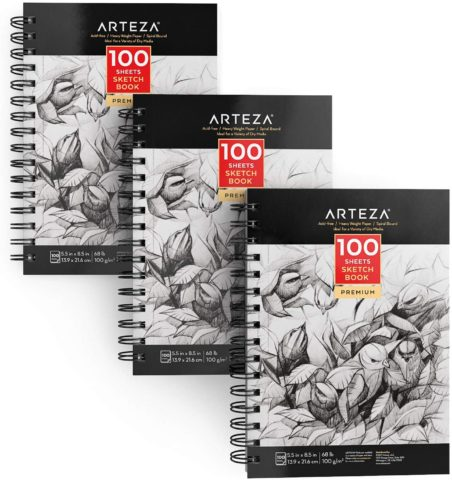 "ARTEZA 5.5X8.5"" Sketch Book, Pack of 3, 300 Sheets"
