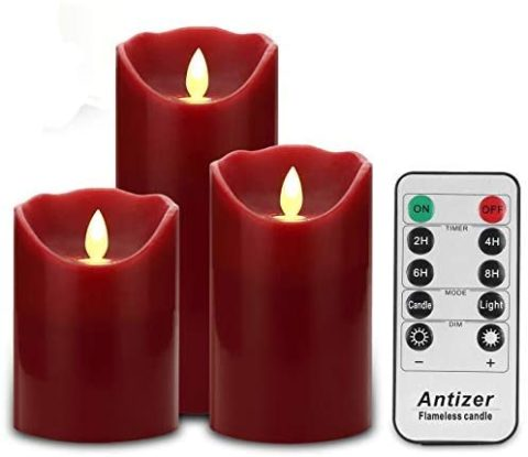 Antizer Flameless Candles 3 Pack Set Drip-Less Real Wax Pillars Include Realistic Dancing LED Flames and 10-Key Remote Control with 24-Hour Timer Function 400+ Hours by 2 AA Batteries (Burgundy)