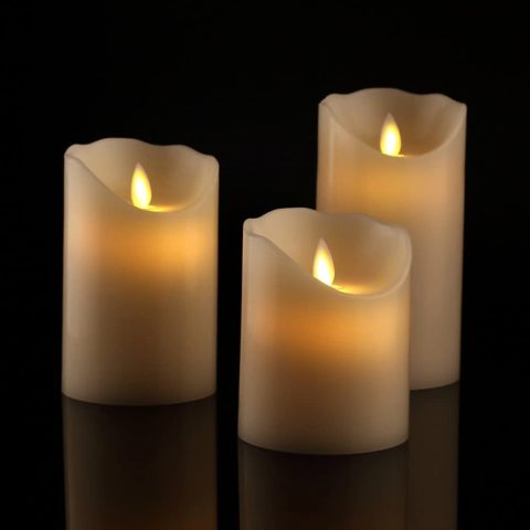Antizer Flameless Candles Set of 3 Ivory Dripless Real Wax Pillars Include Realistic Dancing LED Flames and 10-Key Remote Control with 24-Hour Timer Function 400+ Hours by 2 AA Batteries