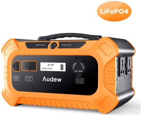 Audew 500Wh Portable Power Station,LiFePO4 Battery Pack Outdoor Solar Generator with Pure Sine Wave