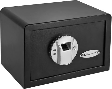 BARSKA AX11620 Biometric Fingerprint Mini Security Home Safe Box 0.29 Cubic Ft, Black,