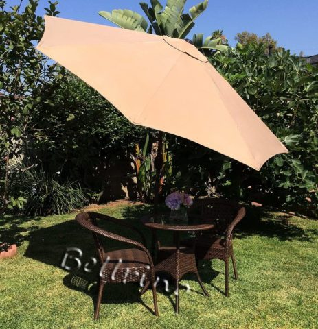 BELLRINO DECOR Replacement Strong and Thick Umbrella Canopy for 9ft 8 Ribs (Canopy Only) (Light Coffee)