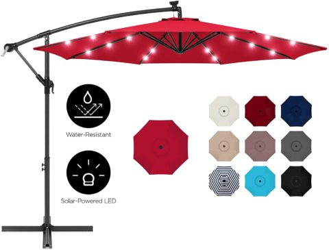 Best Choice Products 10ft Solar LED Offset Hanging Outdoor Market Patio Umbrella w Easy Tilt Adjustment - Red
