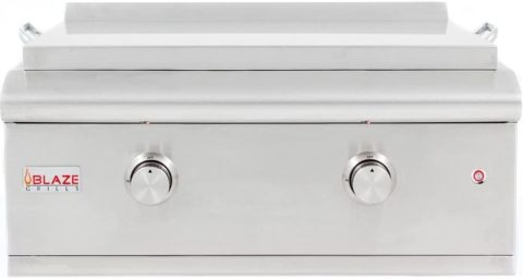 Blaze 30-Inch Built-In Natural Gas Outdoor Griddle with Illuminated Control Knobs and a Push and Turn Flame Thrower , Stainless Steel