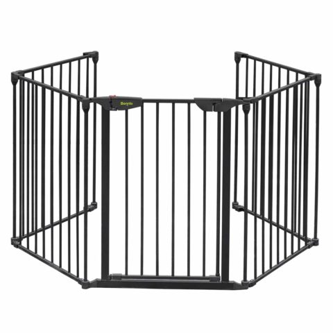 Bonnlo 122-Inch Wide Configurable Baby Gate Fireplace Safety Fence