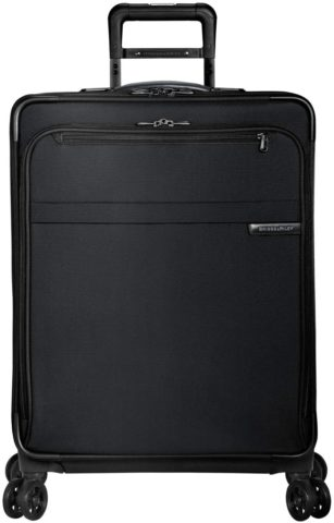 Briggs & Riley Baseline-Softside CX Expandable Medium Checked Spinner Luggage, Black, 25-Inch