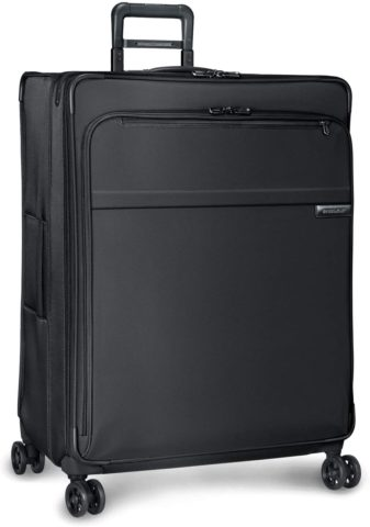 Briggs & Riley Baseline-Softside CX Expandable X-Large Checked Spinner Luggage, Black, 31-Inch