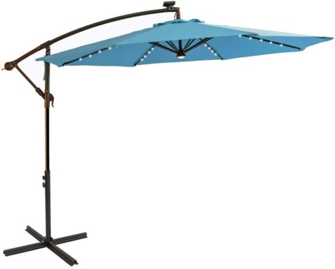 C-Hopetree 10 ft Offset Cantilever Outdoor Patio Umbrella with Solar LED Lights – Aqua Blue