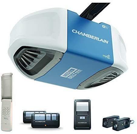 Chamberlain Group B550 Smartphone-Controlled Ultra-Quiet and Strong Belt Drive Garage Door Opener with MED Lifting Power, Blue