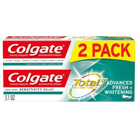 Colgate Total Whitening Toothpaste, Advanced Fresh + Whitening Gel, 5.1 Ounce (Pack of 2)