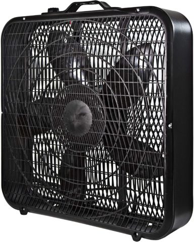 Comfort Zone CZ200ABK 20 3-Speed Box Fan for Full-Force Air Circulation with Air Conditioner, Black