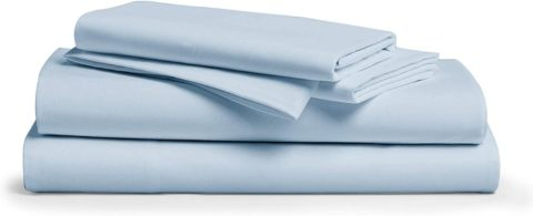 Comfy Sheets 100% Egyptian Cotton King Sheet Set 1000 Thread Count 4 Pc King Light Blue Bed Sheet with Pillowcases, Hotel Quality Fits Mattress Up to 18'' Deep Pocket