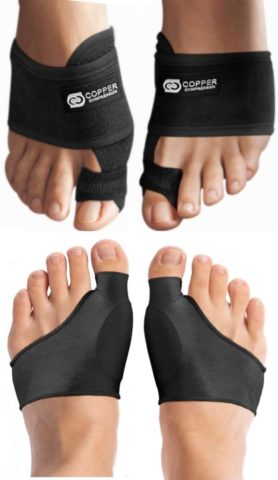 Copper Compression Bunion Corrector And Bunion Relief Kit. 1 Pair of Bunion Cushions + 1 Pair of Bunion Splint Correctors. Bunion Pads Sleeve + Big Toe Splint for Women + Men Relief For Bunions, Feet