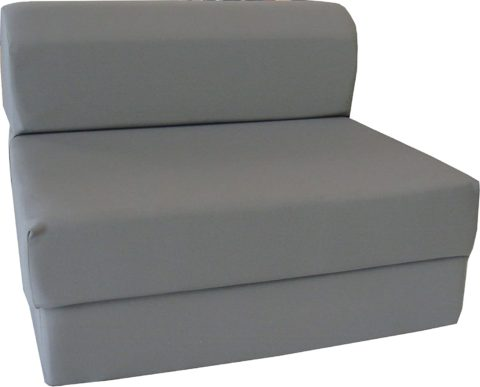 D&D Futon Furniture Gray Sleeper Chair Folding Foam Bed Sized 6 X 32 X 70, Studio Guest Foldable Sofa Beds, Couches, High Density Foam 1.8 Pounds