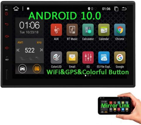Double Din Android 10.0 Car Stereo 7 Inch Car Radio with Screen 2 Din Car GPS Navigation Head Unit Car Video Player in Dash Autoradio Support Bluetooth USB SD AV Out WiFi 4G Screen Mirroring