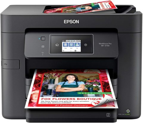 Epson WorkForce Pro WF-3730 All-in-One Wireless Color Printer with Copier, Scanner, Fax and Wi-Fi Direct,Black