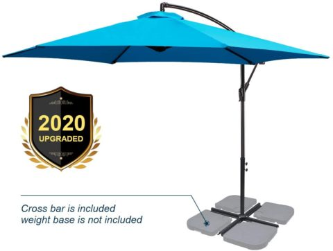 FRUITEAM Offset Patio Umbrella 9FT, Cantilever Hanging Umbrellas, Outdoor Patio Garden Umbrellas Market Umbrella with Crank & Cross Base, Waterproof UV Protection UPF50+ Sky Blue