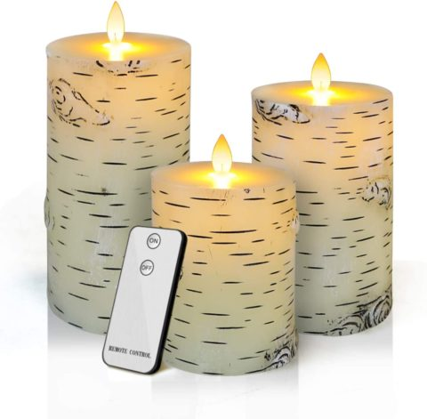Flameless LED Candles,Yinuo Candle Flickering Birch Unscented Pillar 100 Hours Moving Flame Set of 3 Real Wax Battery Operated withTimer Remote Control For Valentine's Day Wedding Party Decor