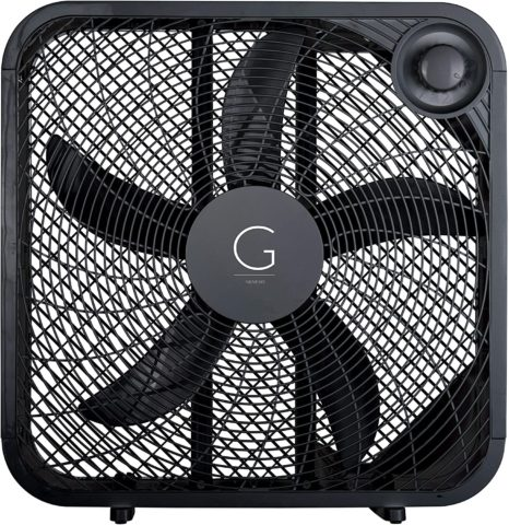 Genesis 20 Box Fan, 3 Settings, Max Cooling Technology, Carry Handle, Black
