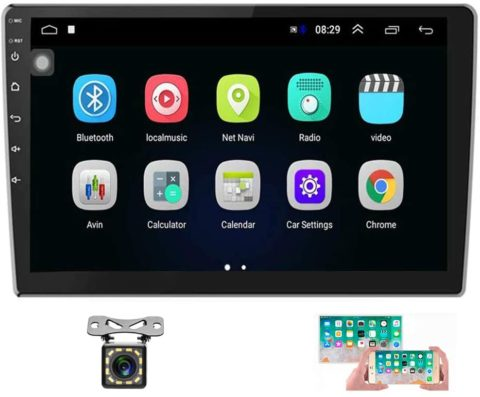 Hikity 10.1 Inch Android Car Stereo with GPS Double Din Car Radio Bluetooth FM Radio Receiver Support WiFi Connect Mirror Link for Android