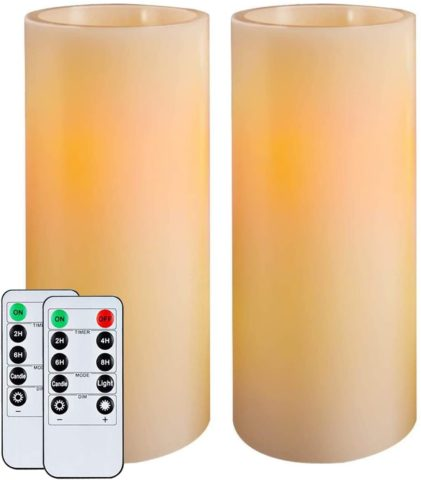 Homemory 9 Flameless Candles Battery Operated, Flickering Amber Yellow Light LED Pillar Candles with Timers and 2 Remote Controls, Unscented Wax, for Gift and Decoration, Indoor Only, Set of 2