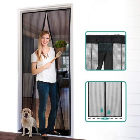 """Homitt Magnetic Screen Door with Heavy Duty Mesh Curtain and Full Frame Hook&Loop, Hands Free, Pet and Kid Friendly, 32""""-38""""W x 83""""H, Black"""