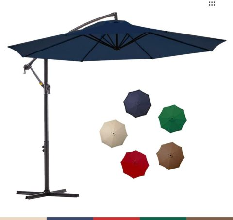 Le Conte Offset Umbrella 10ft Cantilever Patio Hanging Umbrella Outdoor Market Umbrellas with Crank & Cross Base (Navy Blue)