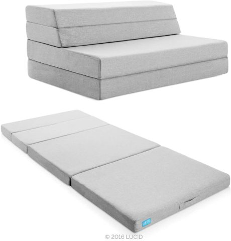 Lucid 4 Folding Mattress & Sofa with Removable Fabric Cover, Twin