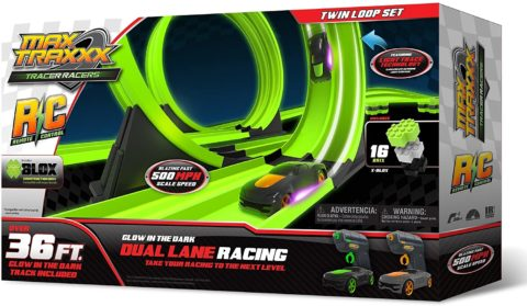 Max Traxxx 098216 RC High Speed Remote Control Twin Loop Track Set with Two Cars for Dual Racing