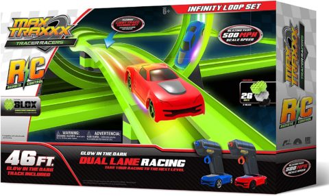 Max Traxxx Rc Award Winning High Speed Remote Control Infinity Loop Track Set with Two Cars for Dual Racing