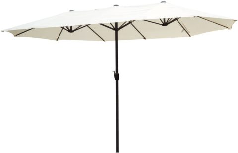 Outsunny 15' Double-Sided Outdoor Patio Market Umbrella with Air Vents - Cream White