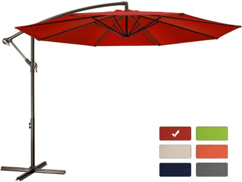 Patio Umbrella 10 ft Cantilever Offset Umbrella Outdoor Market Hanging Umbrellas Garden Umbrella & Crank with Cross Base, 8 Ribs (10 FT, Red)