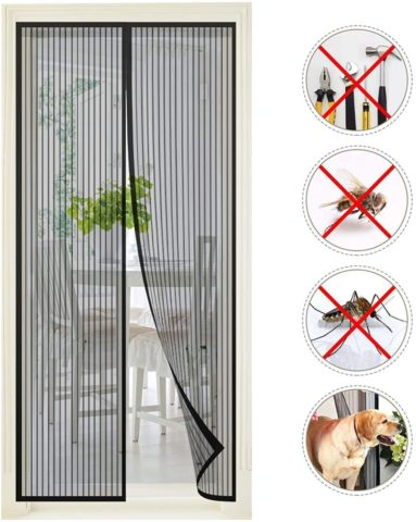 Premium Magnetic Screen Door – Keep Bugs Out Lets Fresh Air in. Instant Bug Mesh is Built Tough, Magnetic Top to Bottom Seal Snaps Shut Automatically