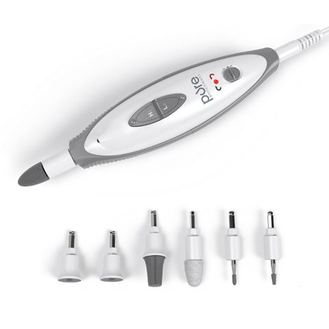 Pure Enrichment PureNails 10-Piece Professional Manicure and Pedicure Kit - Electric Nail File Set for Salon-Quality Grooming at Home - 7 Nail Drill Bits, LED Grooming Light and Storage Bag
