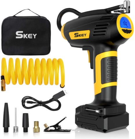 SKEY Air Compressor Tire Inflator - Handheld Electric 150 PSI Portable Air Compressor Cordless Car Tire Pump with Rechargeable Li-ion Battery and USB Charging Cable, Digital Pressure Gauge