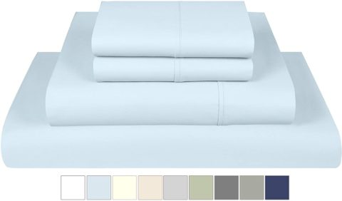 Threadmill Home Linen 800 Thread Count 100% Extra-Long Staple Cotton, King 4 Piece Bed Sheet Set, Luxury Bedding, Fits Mattresses up to 18 inches deep, Smooth Sateen Weave, Blue