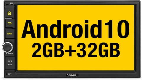Vanku Android 10 Car Stereo Double Din with GPS Navigation, WiFi, Fast Boot, Support Android Auto, Backup Camera, 7 Inch Touch Screen