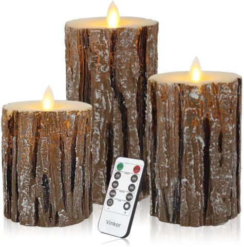 Vinkor Flameless Candles Flickering Candles Decorative Battery Flameless Candle Classic Real Wax Pillar with Dancing LED Flame