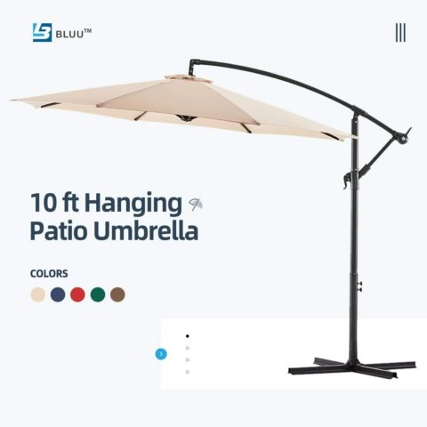 WUFF Bluu 10ft Patio Offset Umbrella Cantilever Umbrella Hanging Market Umbrella Outdoor Umbrellas with Crank & Cross Bases(Beige)
