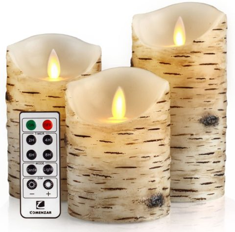comenzar Flickering Candles, Candles Birch Set of Birch Bark Battery Candles Real Wax Pillar with Remote Timer
