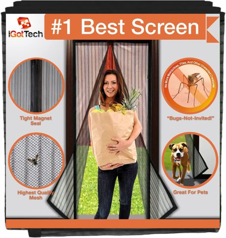 iGotTech Magnetic Screen Door, Full Frame Seal. Covers Doors up to 34 x 82 Inches MAX.