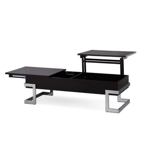 Acme Calnan Lift Top Coffee Table, One Size, Black and Chrome