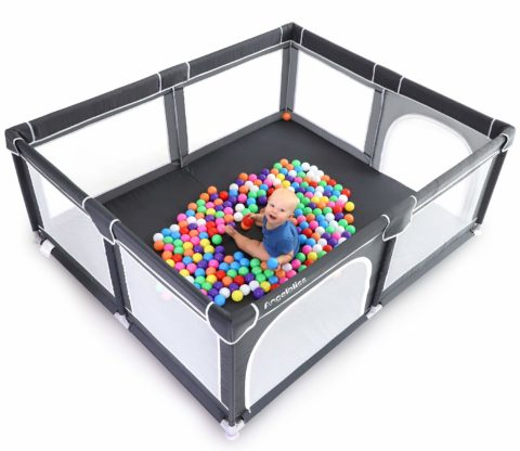 ANGELBLISS Baby Playpen, Extra Large Playard, Indoor & Outdoor Kids Activity Center with Anti-Slip Base, Sturdy Safety Play Yard with Super Soft Breathable Mesh,Kid's Fence for Infants Toddlers(Black)